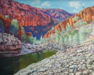 An Oil painting by Ellen Lee Osterfield depicting Landscape Mountains Outback and Water with main colour being Blue Grey and Olive and titled Ormiston Gorge