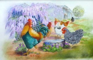 A Watercolour painting by Ellen Lee Osterfield in the Realist style  depicting Birds with main colour being Blue Green and Ochre and titled Spring Chickens