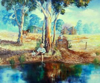 An Oil painting by Ellen Lee Osterfield in the Realist style  depicting Landscape Boy Children and Outback with main colour being Blue and Ochre and titled By the Creek
