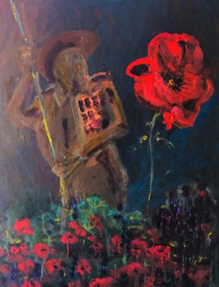 An Oil painting by Margaret Morgan Watkins depicting Flowers and Man with main colour being Brown and Red and titled Once a Proud Nation