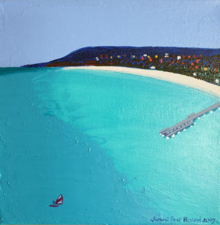 An Acrylic painting by Jennifer Baird in the Contemporary style  depicting Seascape Beach Jetty and Sea with main colour being Blue and Green and titled Peninsula 2