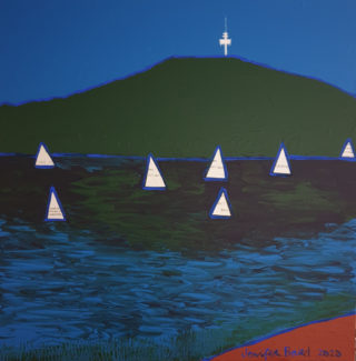 A Mixed Media painting by Jennifer Baird in the Contemporary style  depicting Landscape Lake and Mountains with main colour being Blue and Green and titled Sailing, Lake Burley Griffin