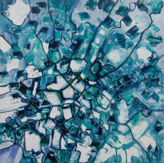 An Acrylic painting by Janine Rea in the Abstract style  depicting  with main colour being Blue and White and titled Icey Blue