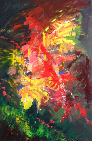 An Acrylic painting by Janine Rea in the Abstract style  depicting  with main colour being Green Red and Yellow and titled Tropic Fire