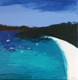An Acrylic painting by Jennifer Baird in the Contemporary style  depicting Seascape Sea Trees and Tropical with main colour being Blue Green and White and titled Whitehaven Beach
