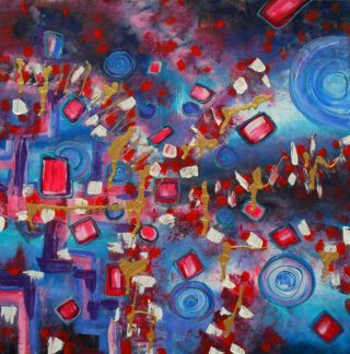An Acrylic painting by Janine Rea in the Abstract style  depicting  with main colour being Blue Pink and Red and titled All Sorted