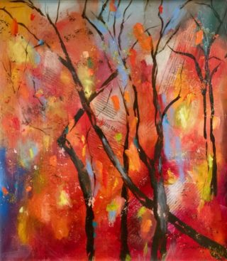 A Mixed Media painting by Janette Giacobbe in the Contemporary style  depicting Trees with main colour being Red and Yellow and titled Autumn Blush
