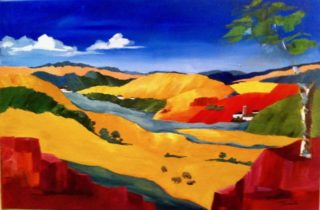 An Acrylic painting by Janette Giacobbe in the Contemporary style  depicting Landscape Hills with main colour being Blue Green and Red and titled Hills
