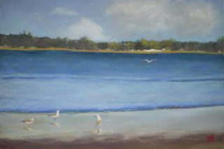 A Pastel artwork by Kathleen Bentley depicting  Lake and Water with main colour being Blue and titled Seascape