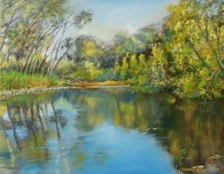 An Oil painting by Lindsay Kilminster in the Realist style  depicting River and Trees with main colour being Blue and Olive and titled Autumn Reflections