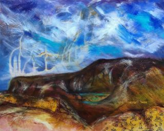 A Mixed Media artwork by Toni Stritzke in the Contemporary style  depicting Landscape Hills and Outback and titled Long, long away