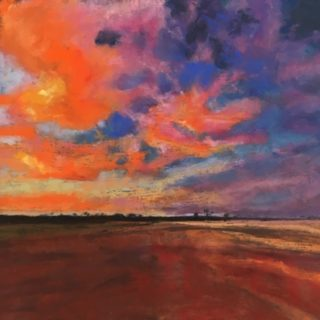 A Pastel painting by Janette Humble in the Impressionist style  depicting Landscape Bush Desert and Farmland with main colour being Blue Brown and Orange and titled Outback Skies
