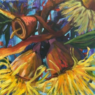 An Acrylic painting by Janette Humble in the Contemporary Realist style  depicting Flowers Bush and Garden and titled Golden Burst