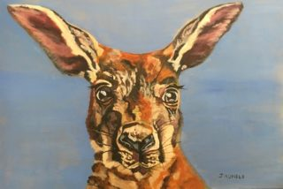 An Acrylic painting by Janette Humble in the Contemporary Realist style  depicting Animals Bush and Outback with main colour being Brown Cream and Orange and titled Big Ears