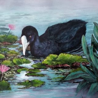 An Acrylic painting by Geraldine Taylor in the Realist style  depicting  Animals Birds and Bush with main colour being Black Blue and Green and titled Peace