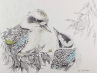 A Mixed Media painting by Ellen Lee Osterfield in the Realist style  depicting Birds with main colour being Grey and titled A Mother's Love