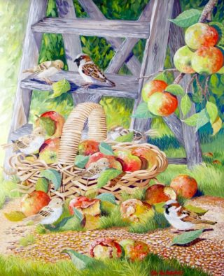 A Mixed Media artwork by Ellen Lee Osterfield in the Realist style  depicting Birds and Fruit with main colour being Blue Green and Orange and titled Harvest Time