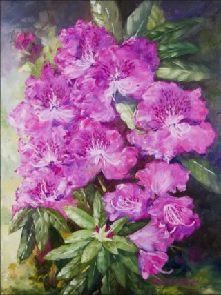 An Oil painting by Ellen Lee Osterfield in the Realist style  depicting Flowers with main colour being Olive Pink and Purple and titled Rhododendrons