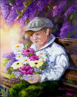 An Oil painting by Ellen Lee Osterfield in the Realist Impressionist style  Boy and Flowers with main colour being Grey Olive and Purple and titled Quiet Contemplation