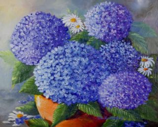 An Oil painting by Ellen Lee Osterfield in the Realist style  depicting Flowers with main colour being Blue and titled Beautiful in Blue