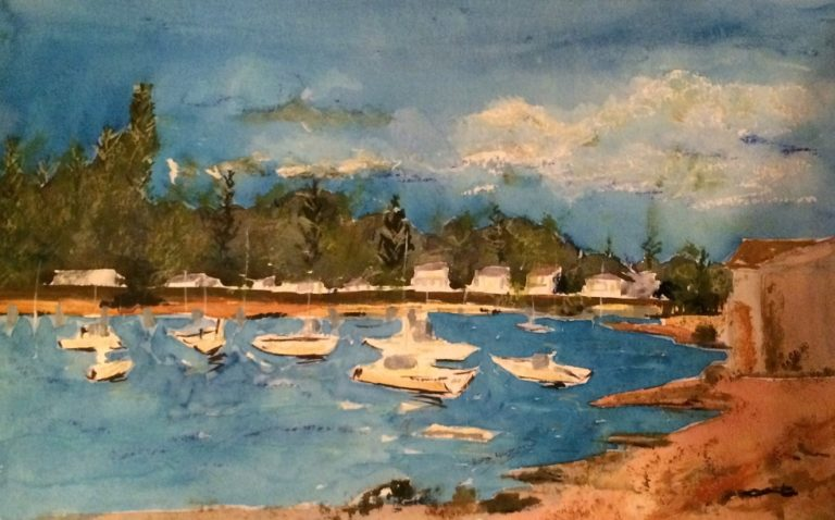 Watercolour Painting by Margaret Morgan Watkins titled Let's go Fishing