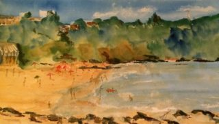 A Watercolour painting by Margaret Morgan Watkins in the Impressionist style  depicting Beach with main colour being Blue Green and Yellow and titled A Day at the Beach