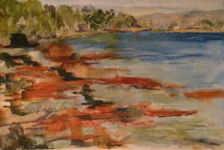 A Watercolour painting by Margaret Morgan Watkins in the Impressionist style  depicting Landscape Beach Rocks and Water with main colour being Blue Brown and Ochre and titled Navy Wharf area of Eden NSW