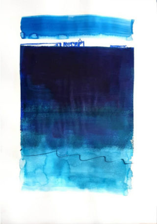 A Mixed Media painting by Jennifer Baird in the Contemporary style  depicting Seascape Beach and Sea with main colour being Blue and White and titled Hyams Beach Horizon