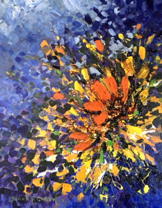 A Mixed Media artwork by Diana Garth in the Impressionist style  depicting Flowers with main colour being Blue Gold and Orange and titled A Splash of Orange