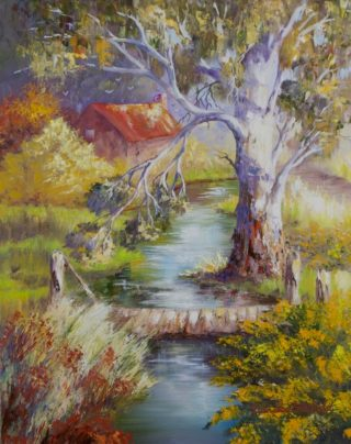 An Oil painting by Ellen Lee Osterfield in the Realist Impressionist style  depicting Landscape Bush Creek and Rural with main colour being Blue Brown and Green and titled Shades of Autumn 2