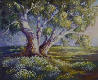 An Oil painting by Ellen Lee Osterfield in the Realist Impressionist style  depicting Landscape Rural and Trees with main colour being Blue Green and Grey and titled Where the Everlastings Grow