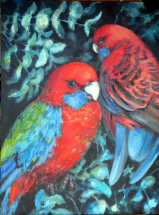 An Acrylic painting by Ekaterina Mortensen in the Realist style  depicting Birds and Trees with main colour being Black and Red and titled ROSELLAS