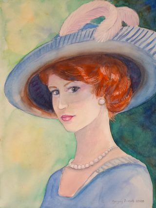 A Watercolour painting by Gregory Pastoll in the Contemporary Realist style  depicting Portrait People and Woman with main colour being Blue Brown and Green and titled Victorian lady