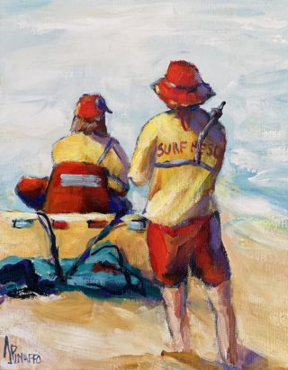 An Acrylic painting by IVANA PINAFFO in the Contemporary Realist style  depicting People Beach and Man with main colour being Blue Red and Yellow and titled ATTENTIVE LIFESAVERS #2