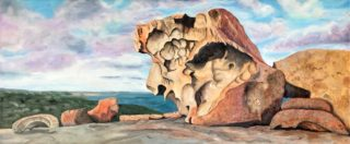 An Oil painting by Iryna White depicting Landscape Rocks and Water with main colour being Blue Ochre and Olive and titled Kangaroo Island