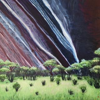 An Oil painting by Iryna White depicting Landscape Outback and Rocks with main colour being Green and Purple and titled Magnificent Uluru