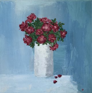 An Oil painting by Iryna White in the Contemporary style  depicting Still Life Flowers with main colour being Blue Grey and Purple and titled Roses