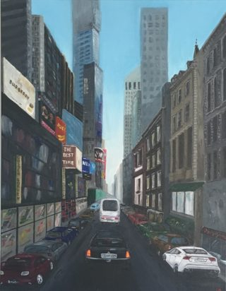 An Acrylic painting by Iryna White depicting Buildings Cars and Streets with main colour being Blue Brown and Grey and titled Megapolice