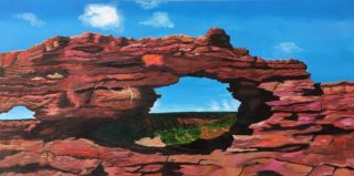An Oil painting by Iryna White depicting Landscape Rocks with main colour being Blue and Brown and titled Natures Window