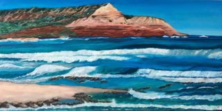 An Oil painting by Iryna White depicting Landscape Rocks and Water with main colour being Blue and Brown and titled Sandy Gully