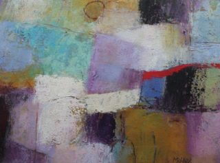 A Mixed Media painting by Marian Alexopoulos in the Abstract style  and titled Red Curve