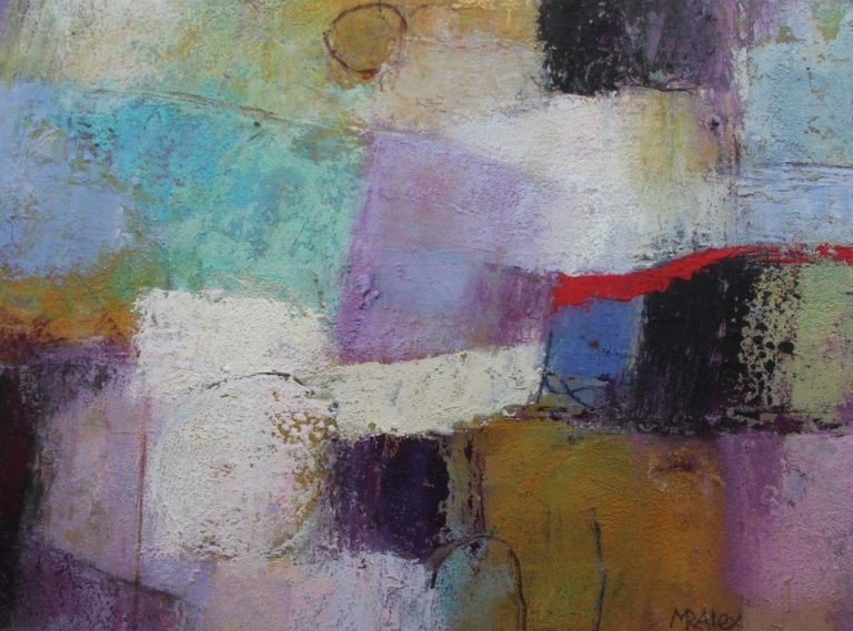 Mixed Media Painting by Marian Alexopoulos titled Red Curve