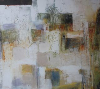 A Mixed Media painting by Marian Alexopoulos in the Abstract style  and titled Rocky Landscape