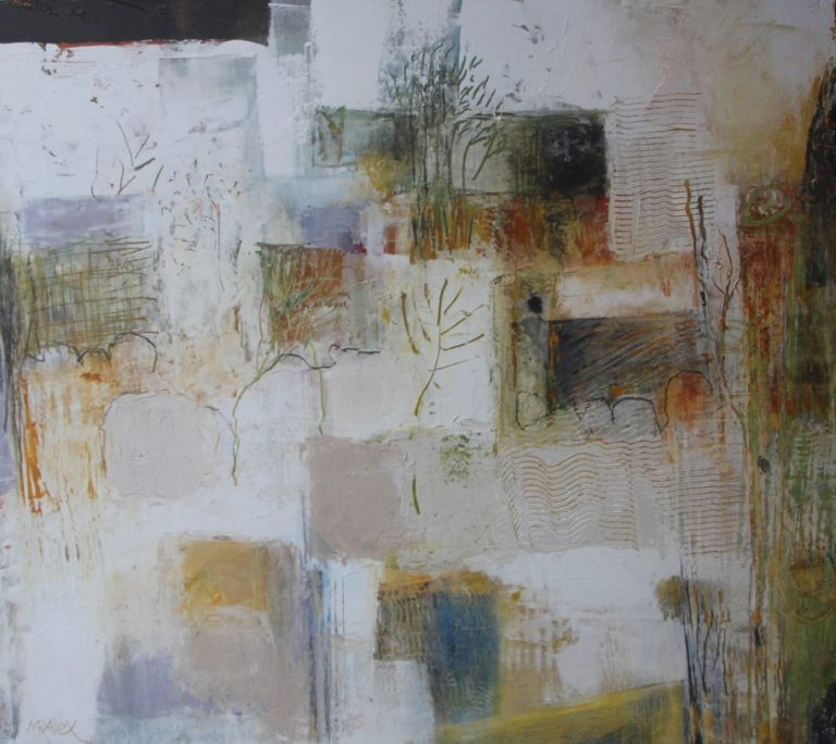 Mixed Media Painting by Marian Alexopoulos titled Rocky Landscape