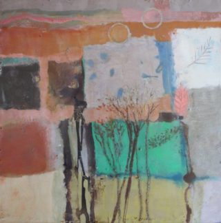 A Mixed Media painting by Marian Alexopoulos in the Abstract style  and titled Autumn Windows