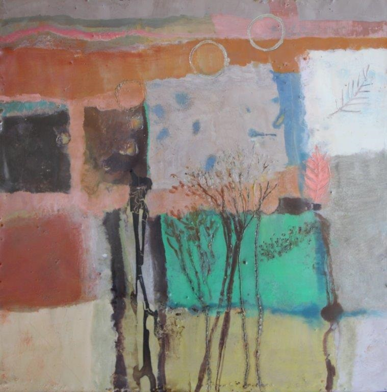 Mixed Media Painting by Marian Alexopoulos titled Autumn Windows