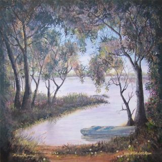 An Acrylic painting by Rex Woodmore in the Contemporary Realist style  depicting Landscape Boats Bush and Creek with main colour being Green and Ochre and titled River Rowboat