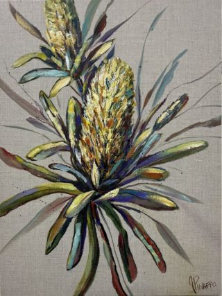 An Acrylic painting by IVANA PINAFFO in the Contemporary Realist style  Bush and Flowers with main colour being Blue Green and Yellow and titled BANKSIAS