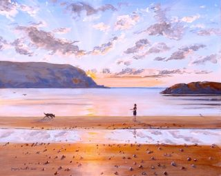 An Acrylic painting by Gregory Pastoll in the Contemporary Realist style  depicting Beach Dogs and Woman with main colour being Blue Brown and Gold and titled A Beach at Sunset