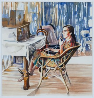 A Watercolour painting by Amanda Aish Woman with main colour being Blue Ochre and White and titled Outback Radio Intelligence